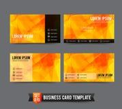 Шаблон визитной карточки установил 019 желтая и оранжевая полигональная задняя часть Стоковые Изображения