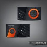 Шаблон визитной карточки установил 029 оранжевый и темный слой Стоковые Изображения RF