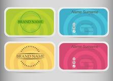 Шаблон визитной карточки установленный Плоский дизайн Покрашенные спирали Стоковое Изображение RF