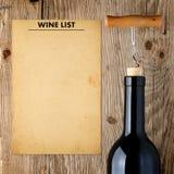 Шаблон винной карты и бутылка вина Стоковые Изображения
