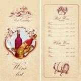 Шаблон винной карты Стоковое Изображение RF