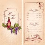 Шаблон винной карты Стоковые Фото