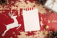 Шаблон года сбора винограда взгляд сверху рождественской открытки стоковые изображения rf
