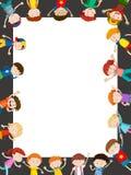 Шаблон границы с счастливыми детьми иллюстрация штока