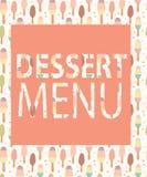 Шаблон десертного меню. Иллюстрация вектора Стоковое Изображение RF