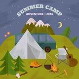 Шаблон летнего лагеря Стоковое Изображение