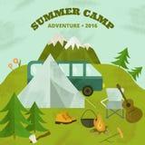 Шаблон летнего лагеря Стоковые Изображения RF