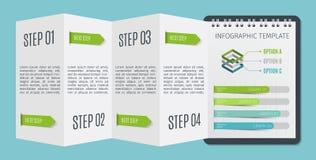 Шаблон дела брошюры или блокнота infographic с шагом вверх по вариантам Стоковые Изображения