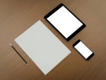 Шаблон дела модель-макета Комплект элементов на деревянном столе braun Стоковые Фотографии RF