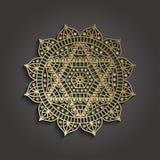 Шаблон дела студии йоги с пиктограммой Anahata chakra Стоковое Изображение