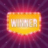 Шаблон знамени победителя ретро с накалять лампочки бесплатная иллюстрация