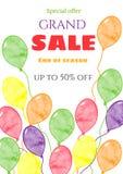 Шаблон знамени продажи Плакат продажи Грандиозная продажа, специальное предложение, скидки Стоковые Изображения
