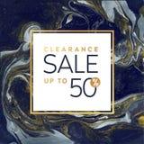Шаблон знамени распродажи квадратный черно-белый с мраморной текстурой на белой предпосылке Вектор Shimmer золота Стоковая Фотография