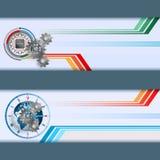 Шаблон знамени сети с электронным обломоком иллюстрация штока