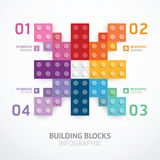 Шаблон знамени строительных блоков цвета Infographic vecto концепции Стоковое фото RF