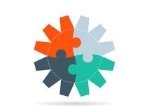 Шаблон диаграммы круглого представления шестерни головоломки infographic с пронумерованным объясняющим полем текста Templete вект Стоковые Фото