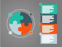 Шаблон диаграммы круглого представления шестерни головоломки infographic с пронумерованным объясняющим полем текста Templete вект Стоковое фото RF