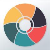 Шаблон диаграммы Infographic с 6 вариантами/частями, дисковой диаграммой также вектор иллюстрации притяжки corel Стоковое фото RF