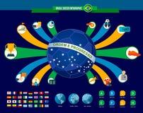 Шаблон игры футбола Бразилии infographic иллюстрация штока