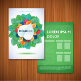Шаблон дизайна брошюры рогульки Листья естественные и экологичность Conce Стоковые Изображения RF
