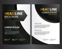 Шаблон дизайна брошюры - современная чернота с золотым текстом Стоковые Фотографии RF