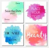 Шаблон дизайна карточек с пятнами влияния акварели Рогульки Модные приглашения, знамена рекламы, брошюры иллюстрация вектора