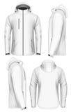 Шаблон дизайна куртки softshell людей с капюшоном иллюстрация штока