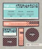 Шаблон дизайна меню кафа ресторана с пастельным точечным растром польки Стоковая Фотография RF