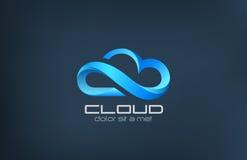 Шаблон дизайна логотипа вектора значка облака вычисляя.