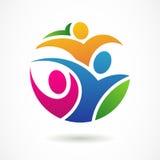 Шаблон дизайна логотипа вектора Красочные абстрактные счастливые люди Стоковое фото RF