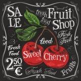 Шаблон дизайна логотипа вектора сладостной вишни свеже Стоковое Изображение RF