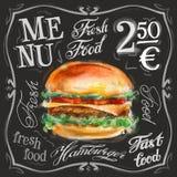 Шаблон дизайна логотипа вектора фаст-фуда Гамбургер Стоковые Изображения RF