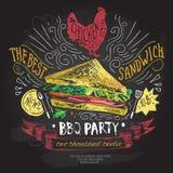 Шаблон дизайна логотипа вектора фаст-фуда значок доски сандвича или меню Стоковые Фотографии RF