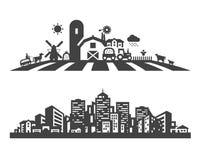 Шаблон дизайна логотипа вектора фермы и города Стоковое Изображение