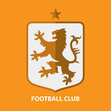 Шаблон дизайна логотипа значка футбола футбола Идентичность команды спорта Стоковые Фотографии RF