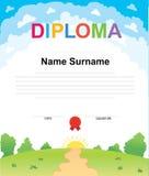 Шаблон дизайна предпосылки сертификата диплома детей Стоковые Изображения RF
