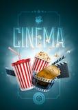 Шаблон дизайна плаката кино Стоковое Фото
