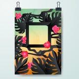 Шаблон дизайна плаката минимальный, знамя дела флористическое, можно использовать для брошюры, отчета, представления Стоковое Изображение