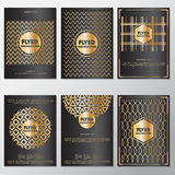 Шаблон дизайна стиля рогульки предпосылки знамени золота Стоковое фото RF