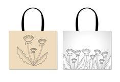 Шаблон дизайна хозяйственной сумки с творческими черными цветками Dandel Стоковая Фотография RF
