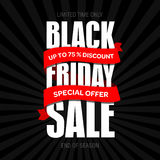 Шаблон дизайна черной надписи продажи пятницы самый лучший черная пятница Стоковое Фото