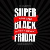 Шаблон дизайна черной надписи продажи пятницы самый лучший черная пятница Стоковое Изображение