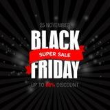 Шаблон дизайна черной надписи продажи пятницы самый лучший черная пятница Стоковая Фотография RF