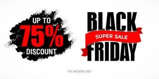 Шаблон дизайна черной надписи продажи пятницы самый лучший черная пятница Стоковые Изображения RF