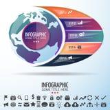 Шаблон дизайна infographics карты мира Стоковое Изображение