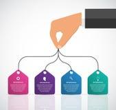 Шаблон дизайна Infographics при человеческие руки держа знамена Стоковые Изображения RF