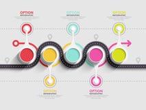 Шаблон извилистой дороги infographic с фазированной структурой Стоковые Изображения