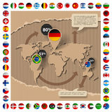 Шаблон картона с картой и флагами мира Стоковая Фотография