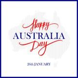Шаблон карточки дизайна литерности счастливого дня Австралии каллиграфический Творческое оформление для приветствий праздника Стоковая Фотография