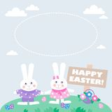 Карточка с пасхальными яйцами и зайчиками бесплатная иллюстрация